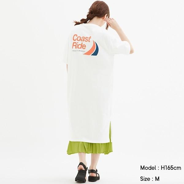 グラフィックTワンピース(5分袖)-OFF WHITE