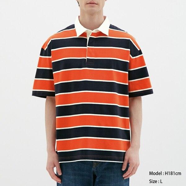 ラガーシャツ(半袖)(ボーダー)-ORANGE