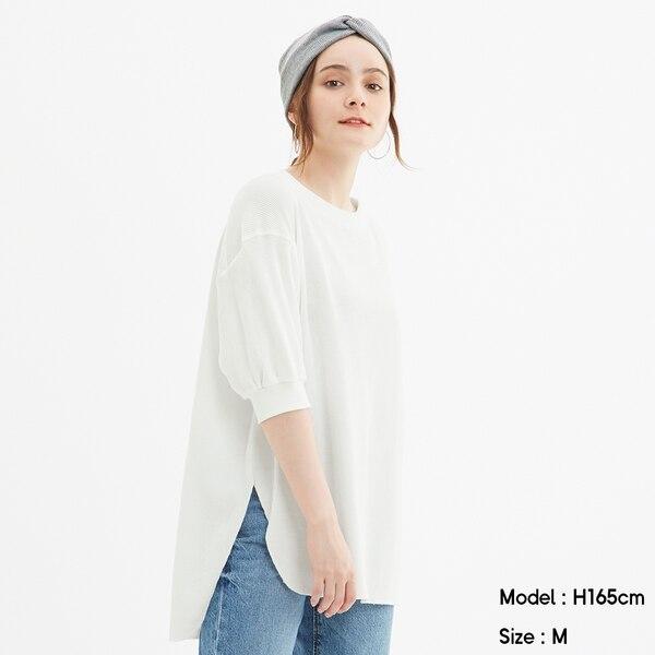 ワッフルオーバーサイズT(5分袖)-OFF WHITE