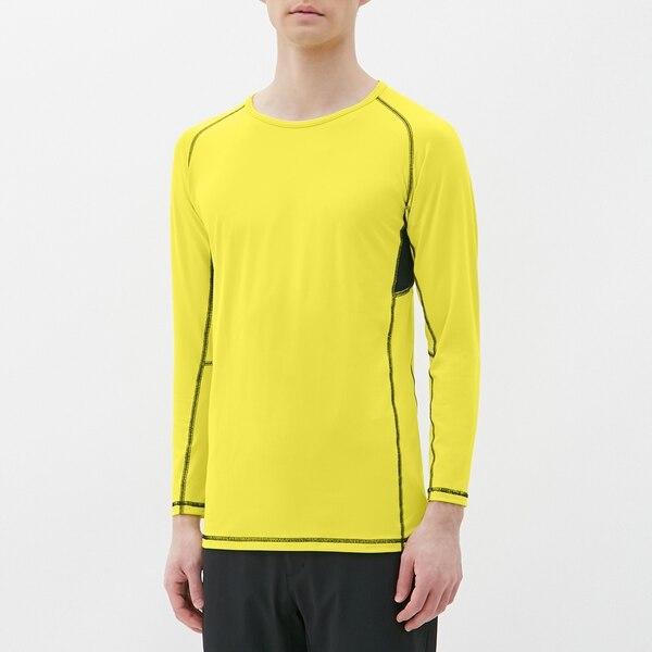 スポーツインナーT(9分袖)(カラーステッチ)GS-YELLOW