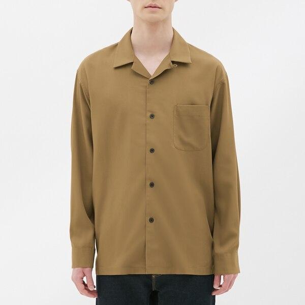 オープンカラーシャツ(長袖)-KHAKI