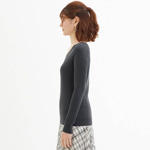 ワイドリブVネックセーター(長袖)