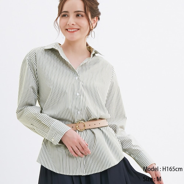 2WAYストライプオーバーサイズシャツ(長袖)-BLACK