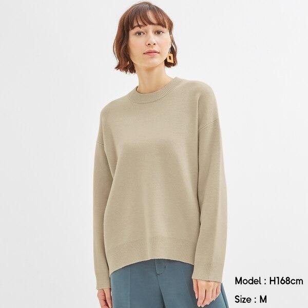 スウェットライクオーバーサイズセーター(長袖)Q-BEIGE