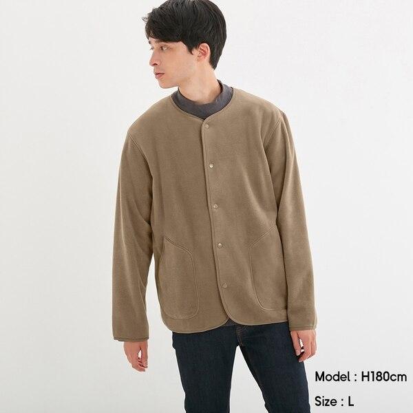 マイクロフリースカーディガン(長袖)-BEIGE