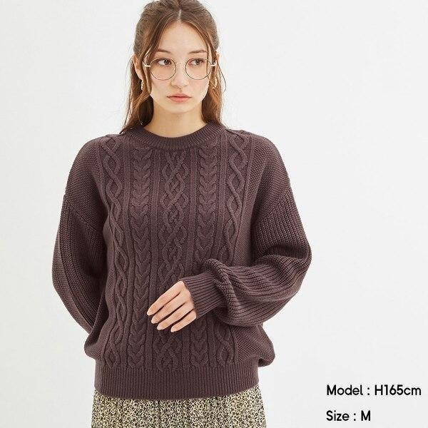 ケーブルクルーネックセーター(長袖)-PURPLE