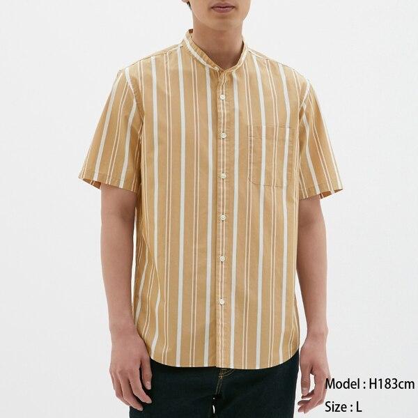 スタンドカラーシャツ(半袖)(ストライプ)-BROWN