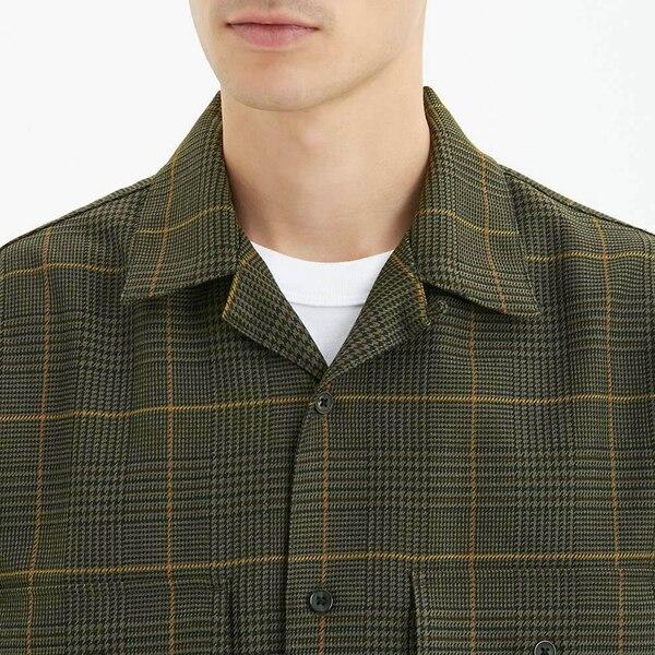 オープンカラーシャツ(長袖)(グレンチェック)