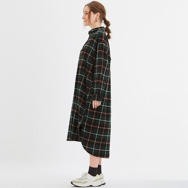 フランネルチェックシャツワンピース(長袖)JN+E