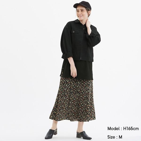 フレアロングスカート(フラワー)AM+E-BLACK