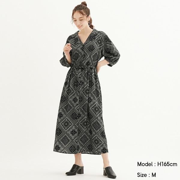 バンダナプリントワンピース(7分袖)Q-BLACK