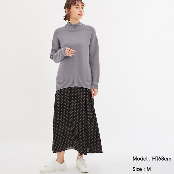 コモンプリントロングスカート+E-NAVY