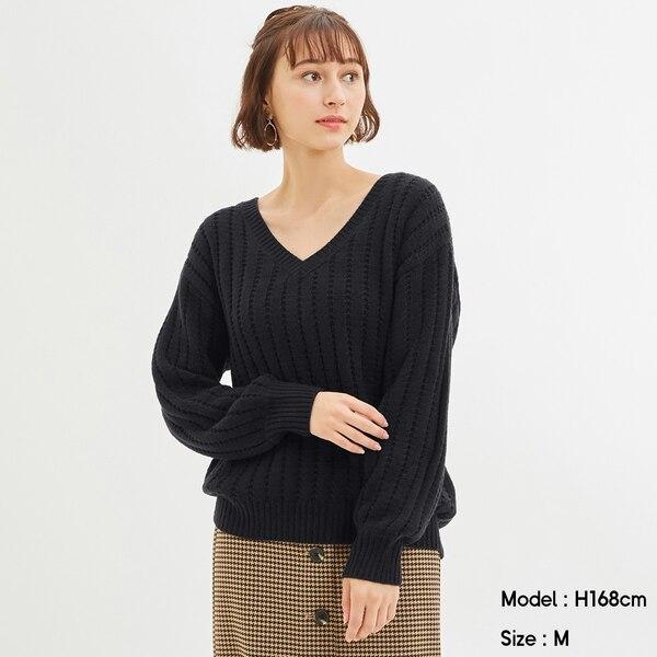 オーバーサイズVネックセーター(長袖)Q+E-NAVY