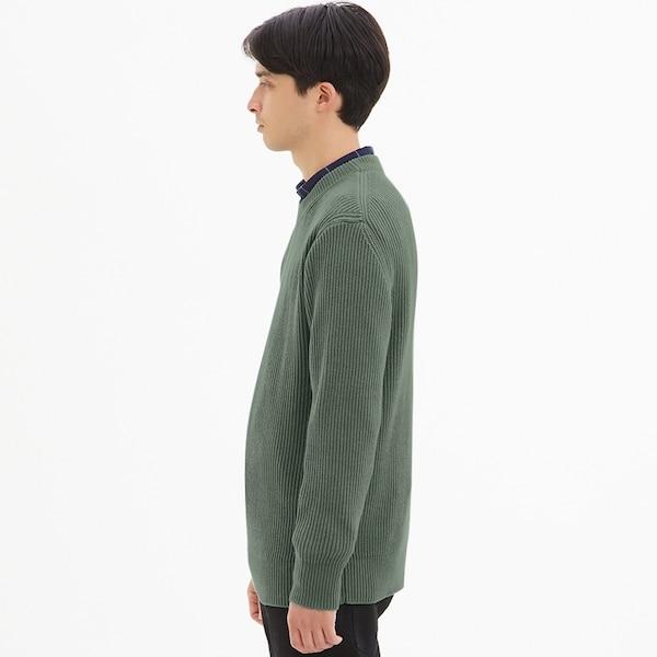 ウォッシャブルコットンアゼクルーネックセーター(長袖)