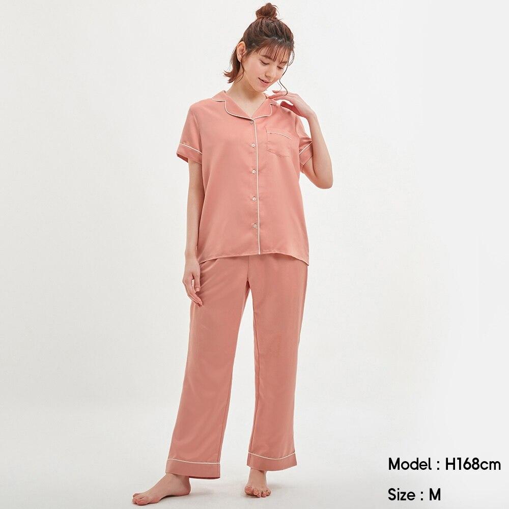 サテンパジャマ(半袖&ロングパンツ)+E