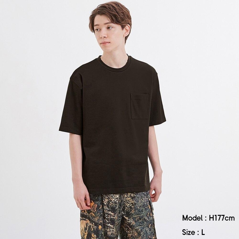 (GU)ポンチクルーネックT(5分袖)