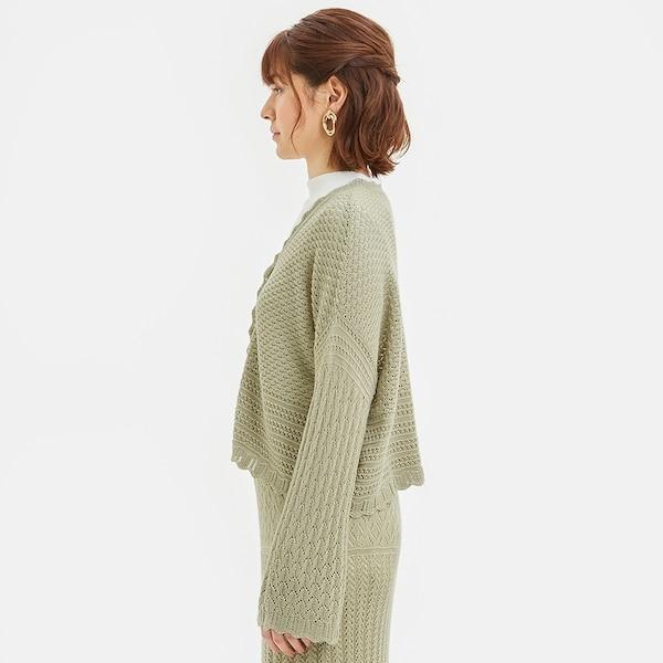透かし編みカーディガン(長袖)(セットアップ可能)