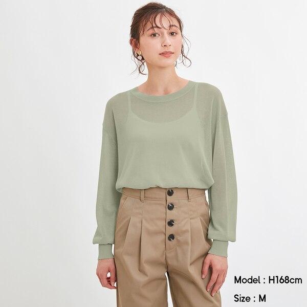 シアーオーバーサイズセーター(長袖)Q-GREEN