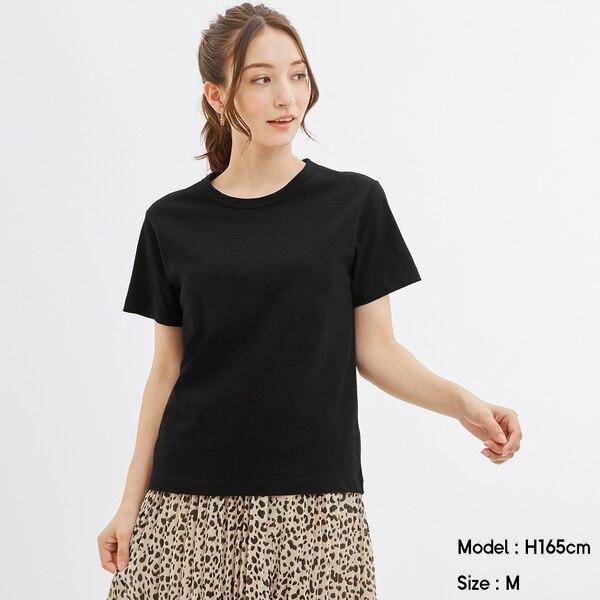 カラークルーネックT(半袖)-BLACK