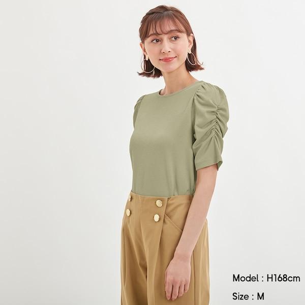 ギャザースリーブT(5分袖)-LIGHT GREEN