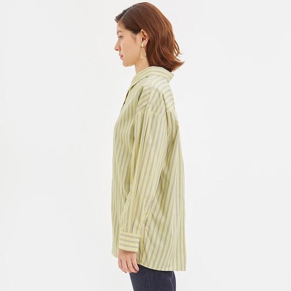 ストライプオーバーサイズシャツ(長袖)JN+E