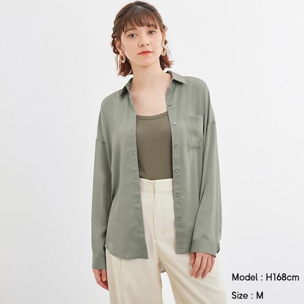 シアーオーバーサイズシャツ(長袖)Q-GREEN