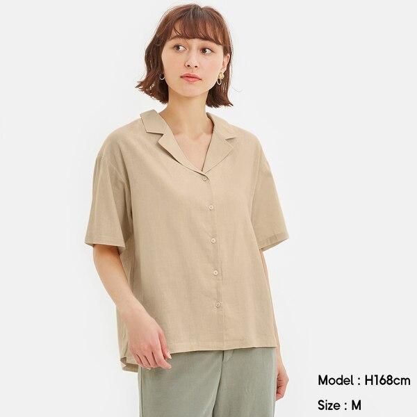 リネンブレンドオープンカラーシャツ(5分袖)-NATURAL