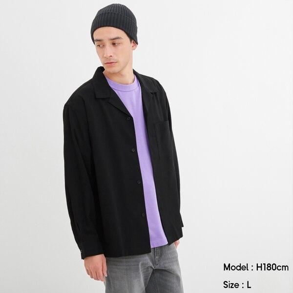 オープンカラーシャツ(長袖)-BLACK
