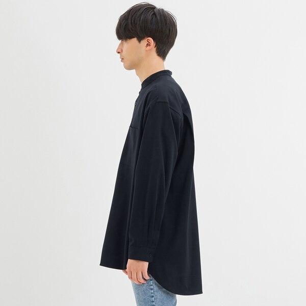 オーバーサイズスタンドカラーシャツ(長袖)+E