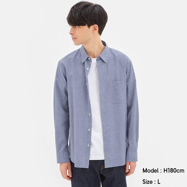 リネンブレンドシャツ(長袖)-BLUE