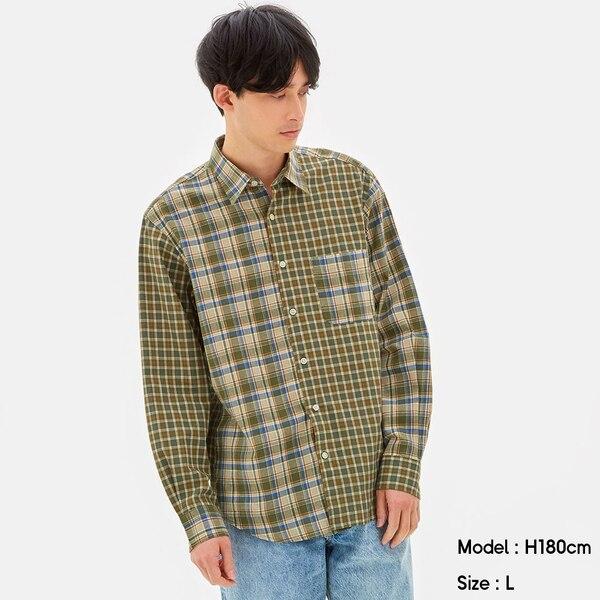 リネンブレンドシャツ(長袖)(クレイジー)+E-OLIVE