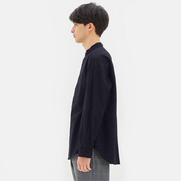 リネンブレンドスタンドカラーシャツ(長袖)