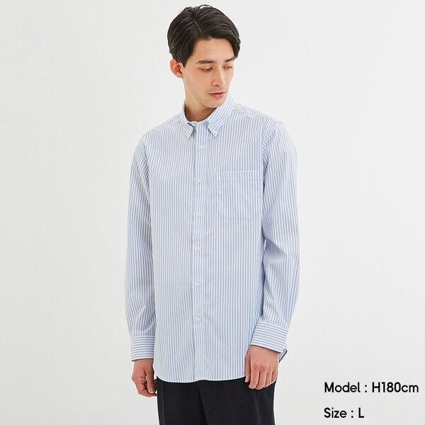イージーケアピンオックスフォードシャツ(長袖)(ストライプ)CL+E-BLUE