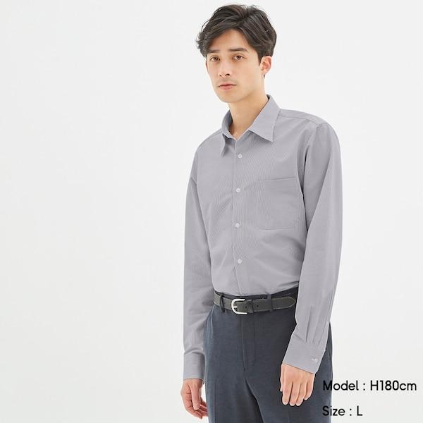 GUドライシャツ(長袖)(ストライプ1)CL+E-WHITE