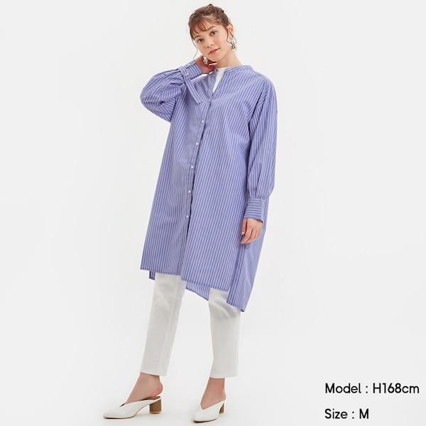 ストライプロングチュニックシャツ(長袖)-BLUE