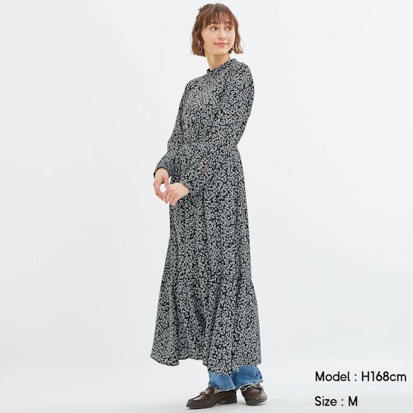 フラワープリントスタンドカラーワンピース(長袖)-NAVY
