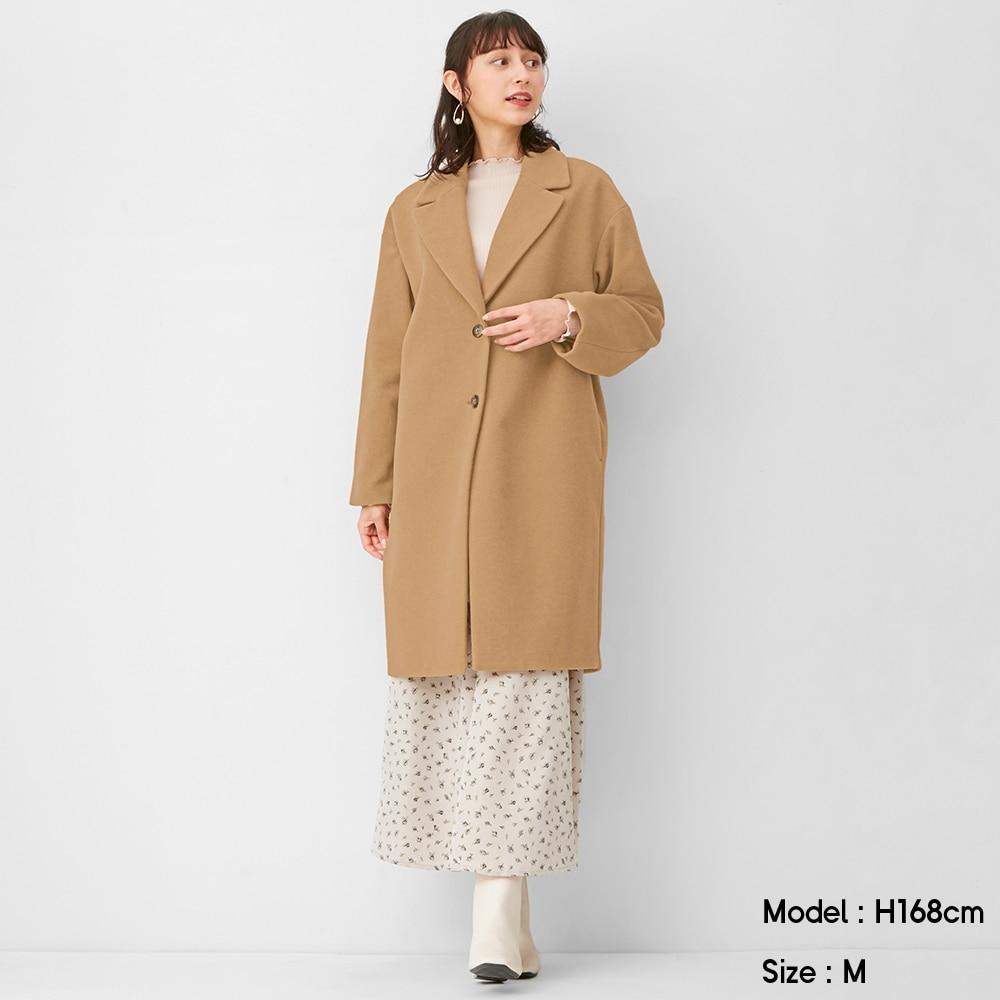 (GU)ウールブレンドオーバーサイズチェスターコート