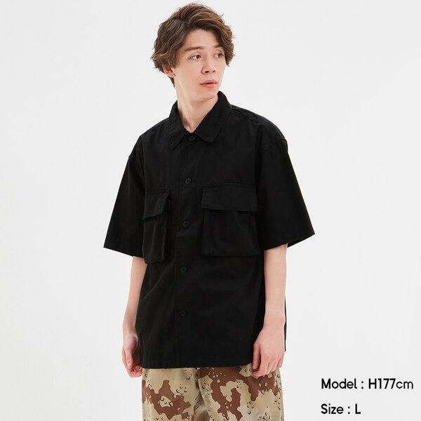 ミリタリーオーバーサイズシャツ(5分袖)-BLACK