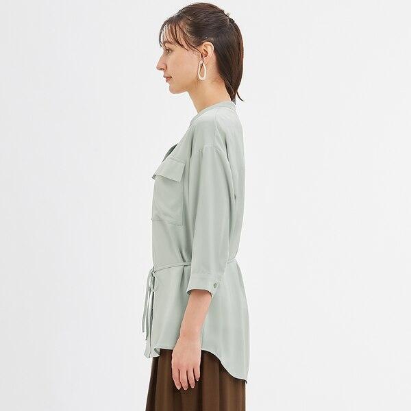 マットサテンダブルポケットシャツ(7分袖)