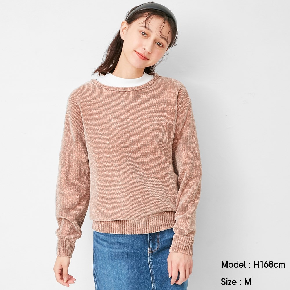 (GU)モールヤーンクルーネックセーター(長袖)