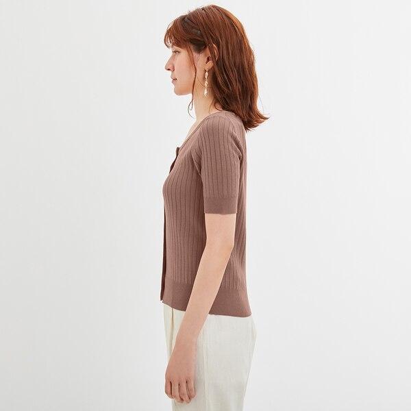 フロントボタンセーター(半袖)