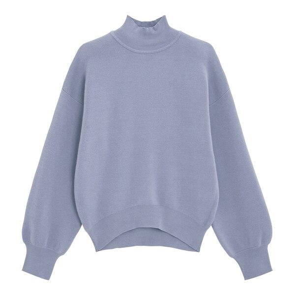 スウェットライクハイネックセーター(長袖)-BLUE