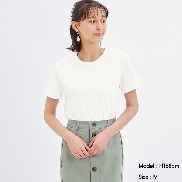 カラークルーネックT(半袖)-OFF WHITE