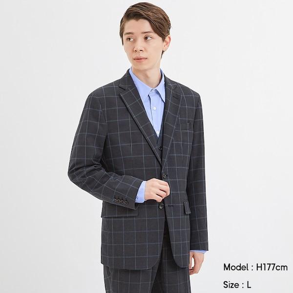 テーラードジャケット(ウィンドウペン)CL+X(セットアップ可能)-BLUE