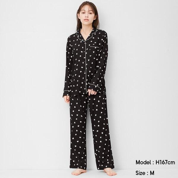 レーヨンツイルパジャマ(長袖)(ゴースト)+X-BLACK