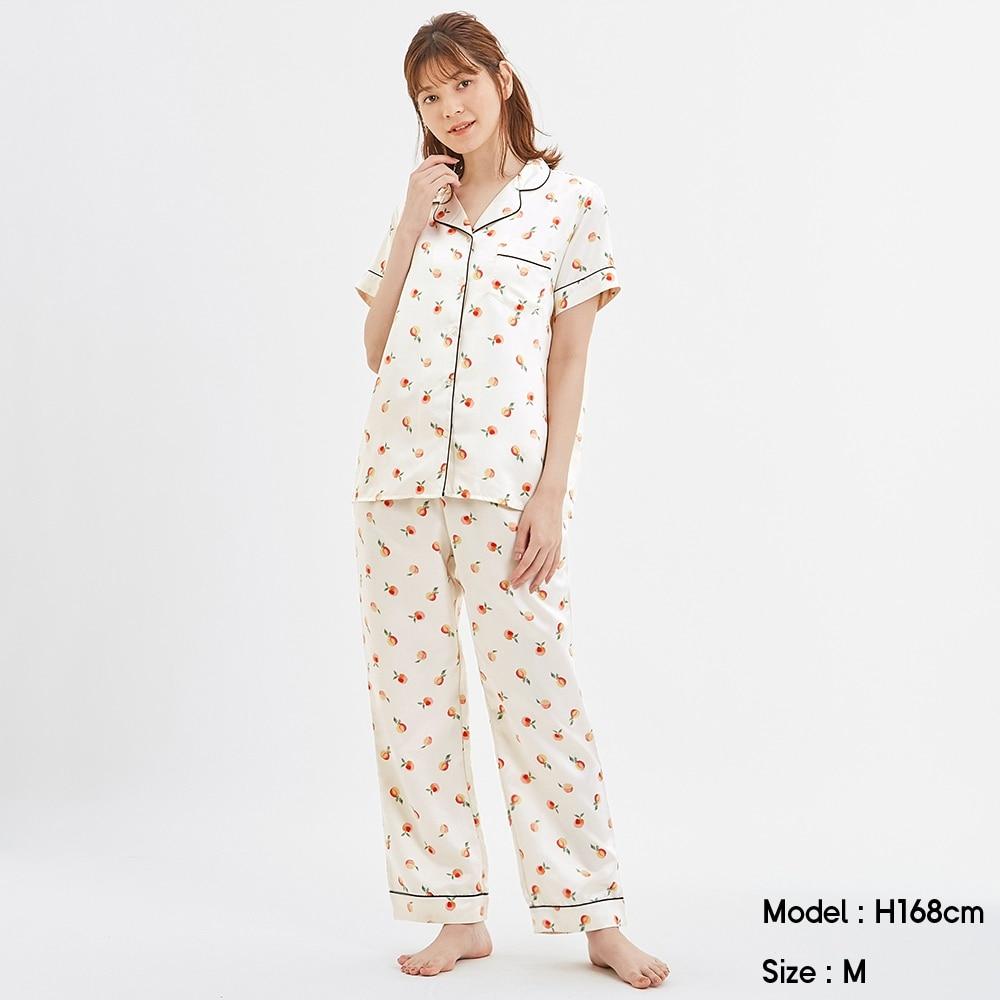 サテンパジャマ(半袖)(アプリコット)