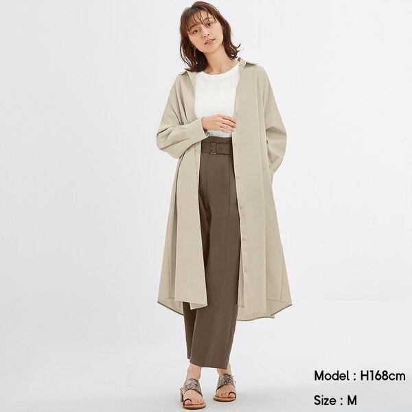 Aラインシャツワンピース(長袖)-BEIGE