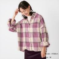 フランネルボリュームスリーブチェックシャツ(長袖)+X