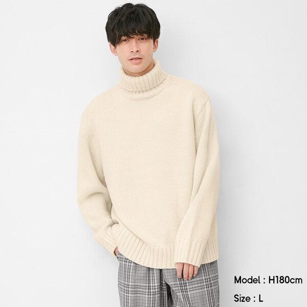 ローゲージタートルネックセーター(長袖)-OFF WHITE