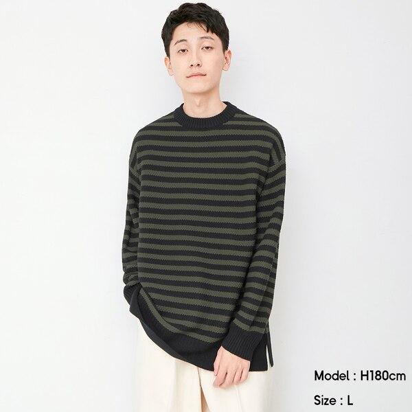 ボーダークルーネックセーター(長袖)-BLACK